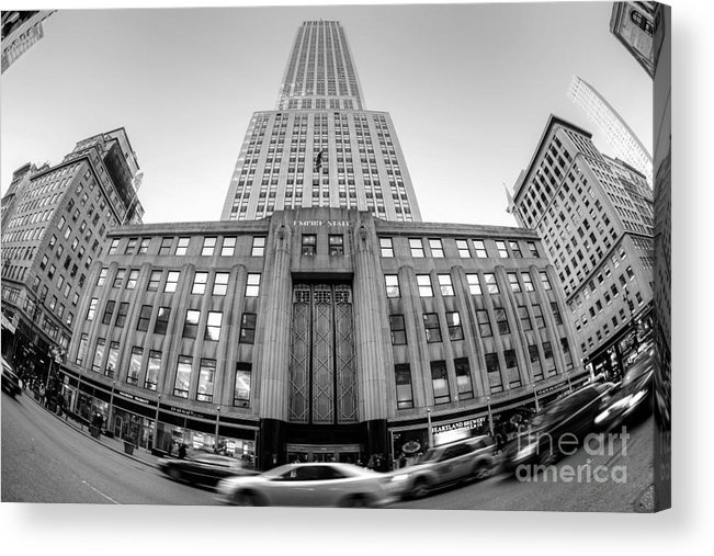 Empire State Building Acrylic Print featuring the photograph Empire State Building In Black And White by Daniel Portalatin Photography