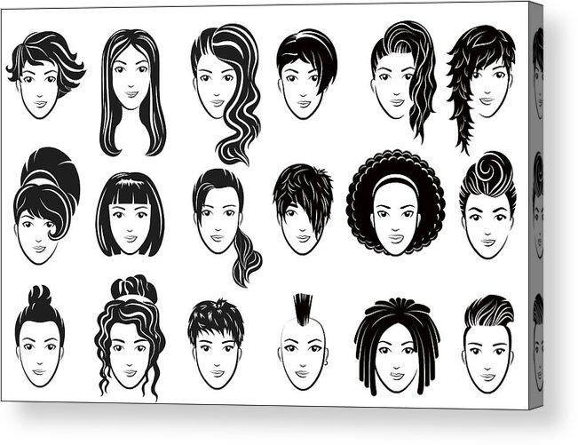 Female Hairstyle Icons Set Advertising Elegant Woman Face Logo