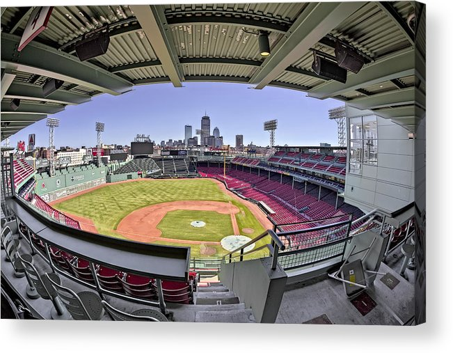 Boston Acrylic Print featuring the photograph Fenway Park And Boston Skyline by Susan Candelario