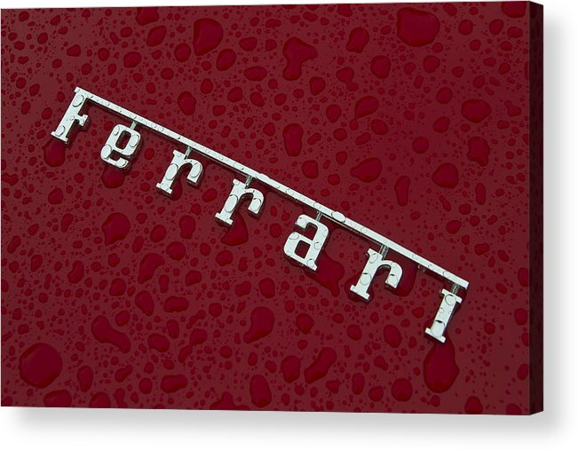 Ferrari Acrylic Print featuring the photograph Ferrari Emblem In The Rain by Joel Witmeyer