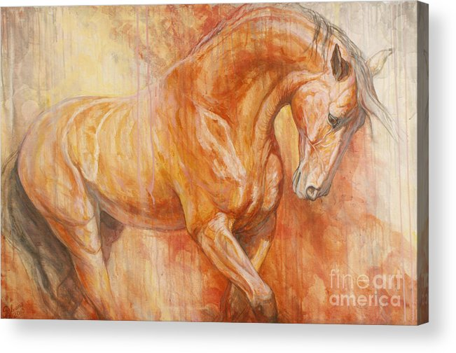 Horse Acrylic Print featuring the painting Fiery Spirit by Silvana Gabudean Dobre