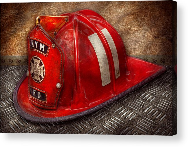 Fireman Acrylic Print featuring the photograph Fireman - Hat - A Childhood Dream by Mike Savad