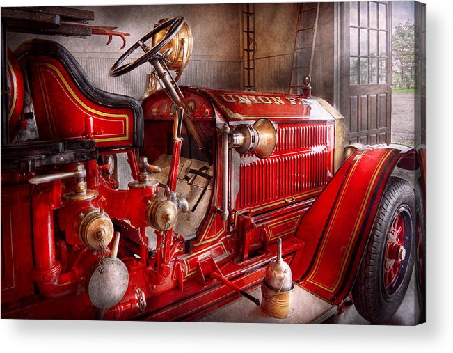 Fireman Acrylic Print featuring the photograph Fireman - Truck - Waiting For A Call by Mike Savad