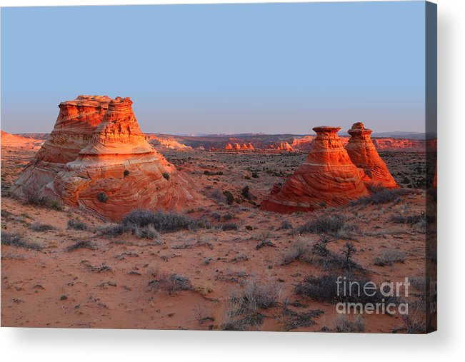 South Coyote Buttes Acrylic Print featuring the photograph First Light At Teepees by Bill Singleton