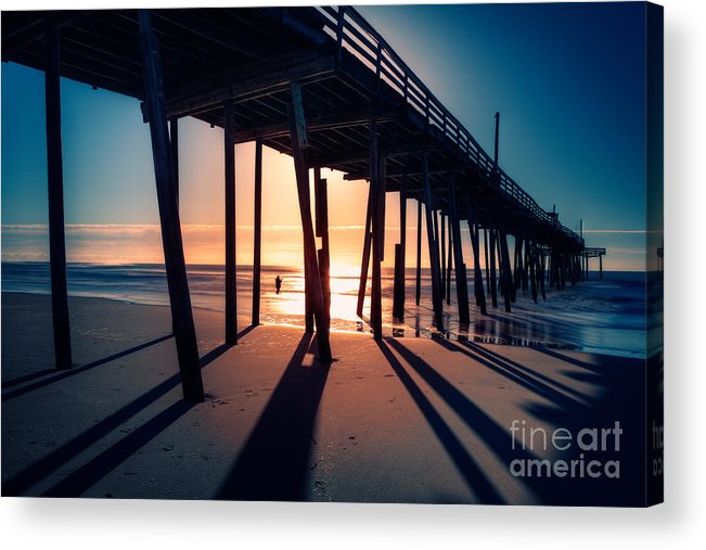Outer Banks Acrylic Print featuring the photograph Fishing At Frisco Outer Banks by Dan Carmichael
