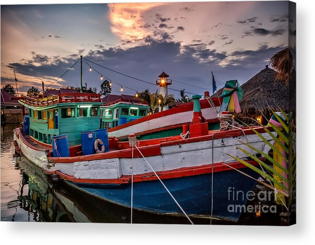 Hdr Acrylic Print featuring the photograph Fishing Boat by Adrian Evans