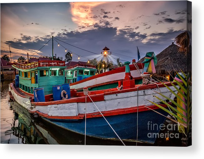 Hdr Acrylic Print featuring the photograph Fishing Boat V2 by Adrian Evans