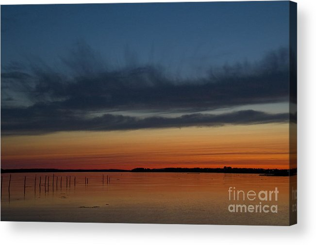 Sunset Acrylic Print featuring the photograph Fishing Weirs by Alana Ranney