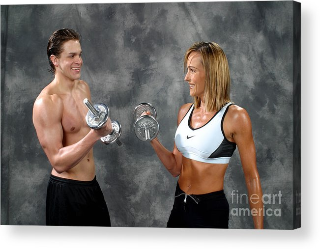 Model Acrylic Print featuring the photograph Fitness Couple 9 by Gary Gingrich Galleries