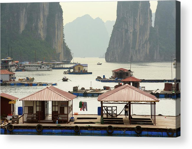 Scenics Acrylic Print featuring the photograph Floating Villages, Halong Bay, Vietnam by Jamie Marshall - Tribaleye Images