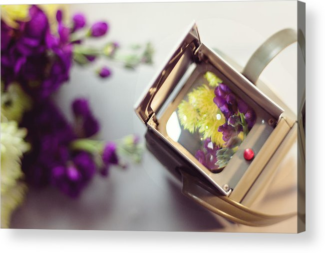 Camera Acrylic Print featuring the photograph Flowers Thru A Lens by Cynthia Linderbeck