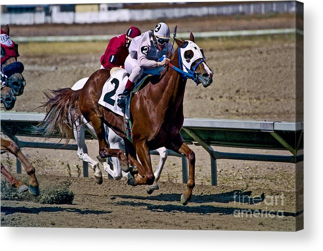 Racing Acrylic Print featuring the photograph Flying Hooves by Kathy McClure