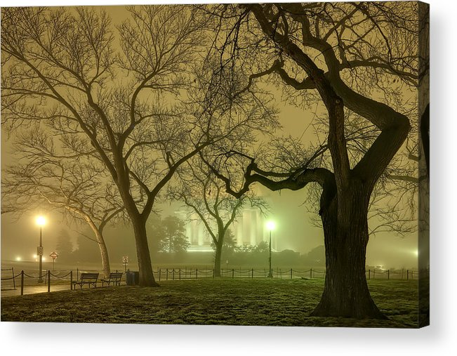 Metro Acrylic Print featuring the photograph Foggy Approach To The Lincoln Memorial by Metro DC Photography