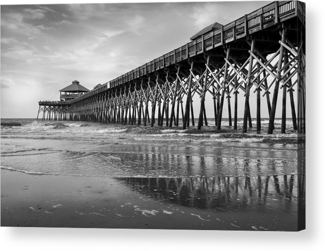 Folly Beach Pier Acrylic Print featuring the photograph Folly Beach Pier In Black And White by Curtis Cabana