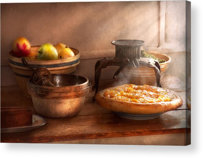 Peach Acrylic Print featuring the photograph Food - Pie - Mama's Peach Pie by Mike Savad