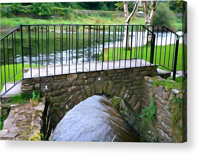 Inistioge Acrylic Print featuring the photograph Foot Bridge At Inistioge by Charlie and Norma Brock