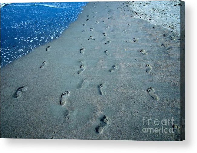 Foot Acrylic Print featuring the photograph Footprints In The Sand by Kerri Lane