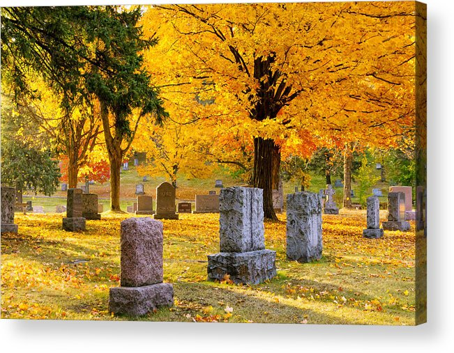 forest Hill forest Hill Cemetery woodland Autumn Cemetery Graveyard Trees Leaves Duluth Serenity Peace Tombstones Wind winds Of Change blowing Leaves nature fall Color mary Amerman Acrylic Print featuring the photograph Autumn At Forest Hill by Mary Amerman