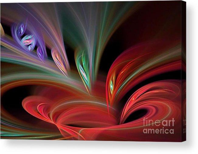Abstract Acrylic Print featuring the digital art Fractal Vortex Swirl by Brian Raggatt