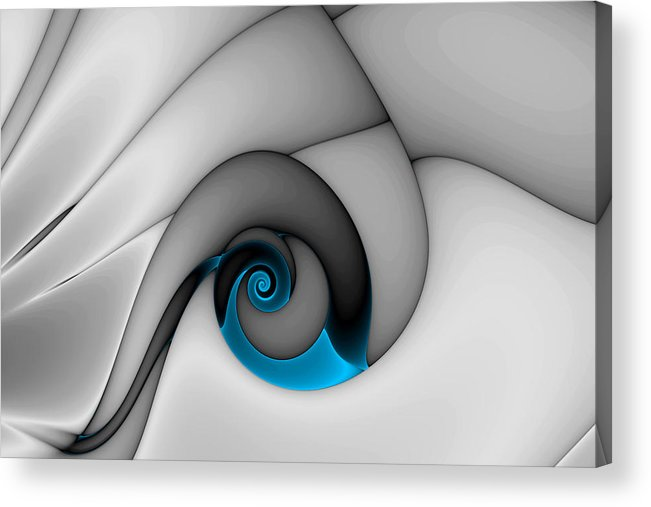 Abstract Acrylic Print featuring the digital art Fractures Curl Blue by Mark Eggleston
