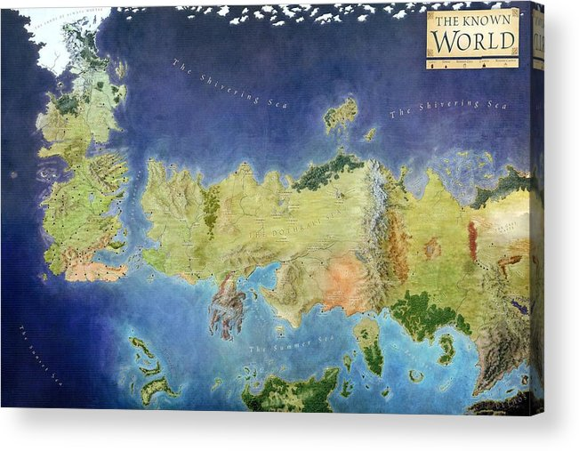 Fantasy Life World Map.Game Of Thrones World Map Acrylic Print By Gianfranco Weiss