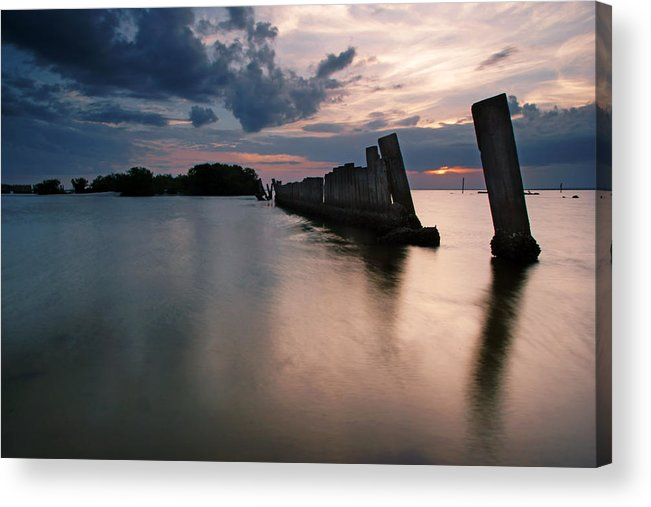 Gandy Bridge Acrylic Print featuring the photograph Gandy Wall At Sunset II by Daniel Woodrum