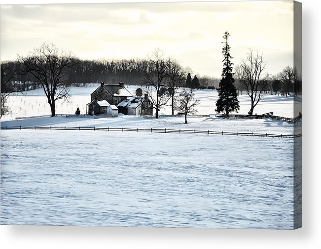 Gettysburg Acrylic Print featuring the photograph Gettysburg Farm In The Snow by Bill Cannon