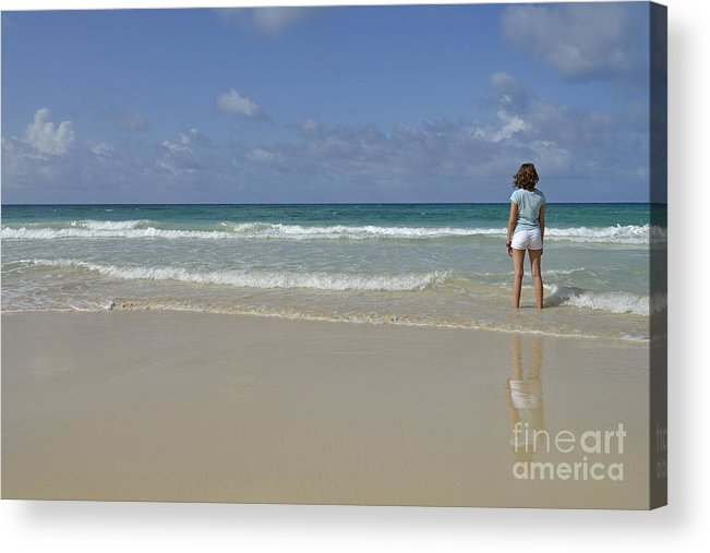 People Acrylic Print featuring the photograph Girl Contemplating Ocean From Beach by Sami Sarkis