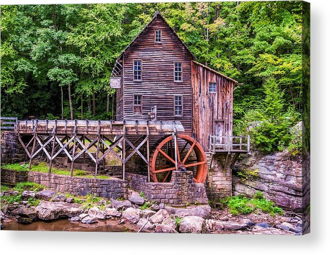 Mill Acrylic Print featuring the photograph Glade Creek Grist Mill by Steve Harrington