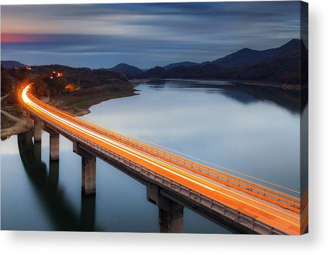 Bulgaria Acrylic Print featuring the photograph Glowing Bridge by Evgeni Dinev