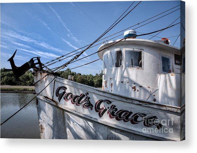 Coastal Shrimping Acrylic Print featuring the photograph God's Grace Shrimp Boat by Vicki Kohler