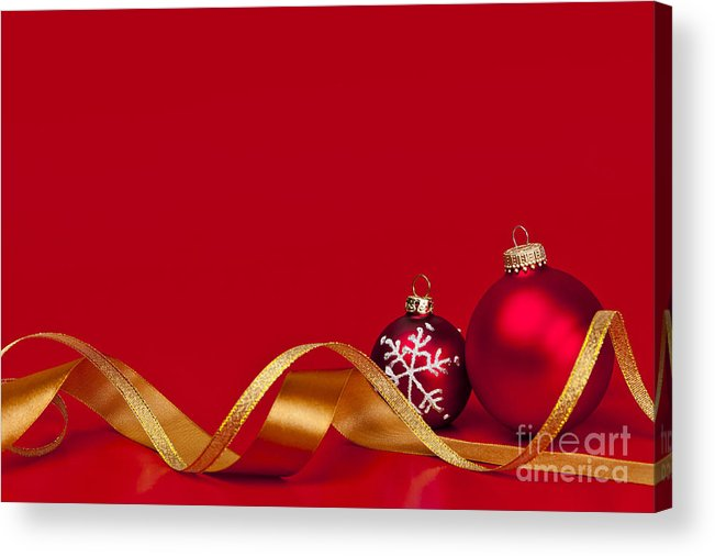 Christmas Acrylic Print featuring the photograph Gold And Red Christmas Decorations by Elena Elisseeva
