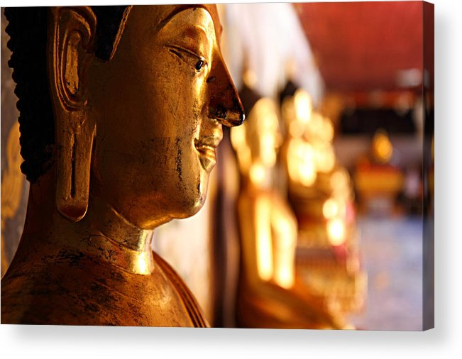 Metro Acrylic Print featuring the photograph Gold Buddha At Wat Phrathat Doi Suthep by Metro DC Photography
