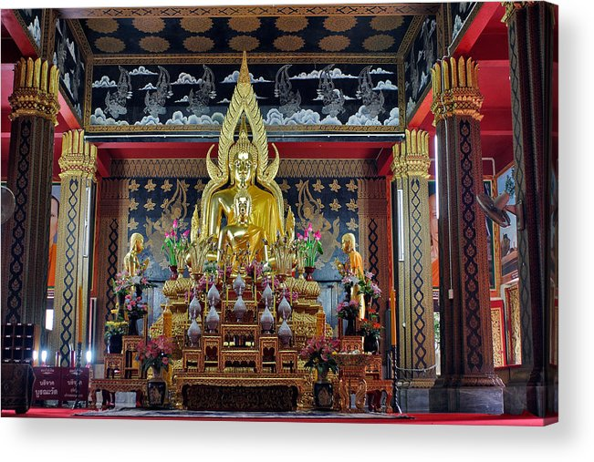 3scape Acrylic Print featuring the photograph Golden Buddha by Adam Romanowicz