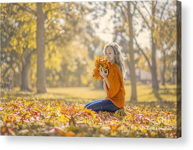 Girl Acrylic Print featuring the photograph Golden Fall by Evelina Kremsdorf