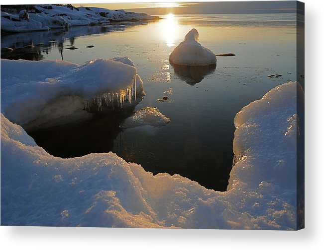 Sunrise  Lake Superior  Ice Formations Acrylic Print featuring the photograph Golden Glow by Sandra Updyke