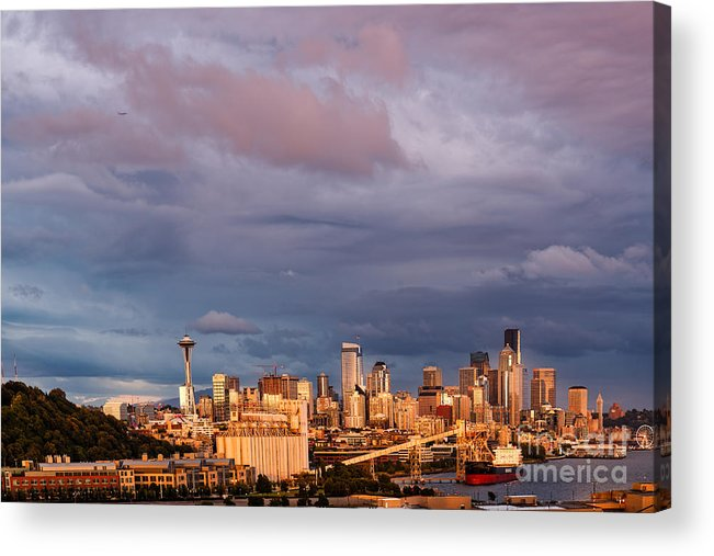 Downtown Seattle Acrylic Print featuring the photograph Golden Hour Reflected On Downtown Seattle And Space Needle - Seattle Washignton State by Silvio Ligutti