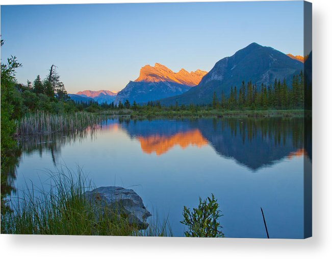 Landscape Canada Rocky Mountain Banff Vermilion Lake Water Reflection Mount Rundle At Sunset Acrylic Print featuring the photograph Golden Mount Rundle Banff by Yi Luo
