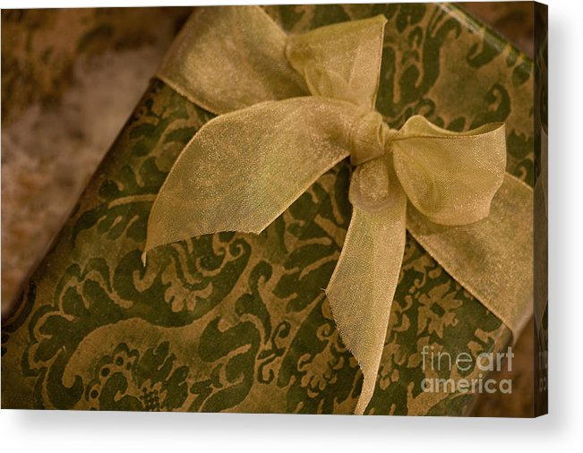 Present; Bow; Ribbon; Vintage; Gold; Green; Christmas; Decoration; Box; Xmas; Gift; Close Up; Celebration; Elegant; Festive; Holiday; Seasonal; Wrapped; Wrapping; Birthday Acrylic Print featuring the photograph Golden Present by Margie Hurwich