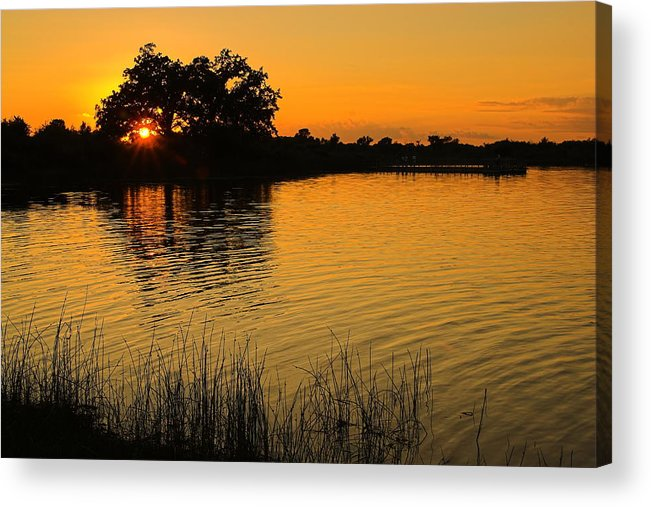 Lake Acrylic Print featuring the photograph Golden Sunset by Chuck De La Rosa
