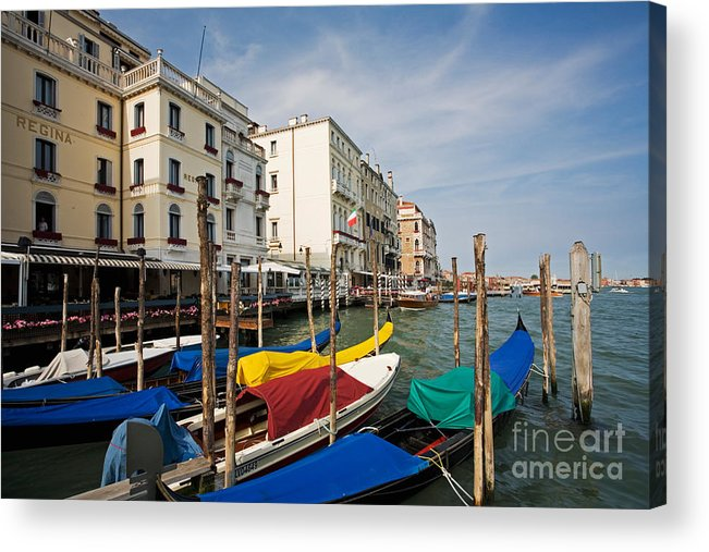Tourism Acrylic Print featuring the photograph Gondolas On The Grand Canal by David Davis