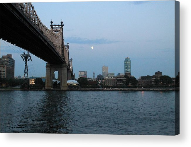 Queensboro Bridge Acrylic Print featuring the photograph Good Night Moon by Catie Canetti