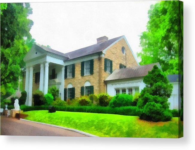 Graceland Mansion Acrylic Print featuring the mixed media Graceland Mansion by Dan Sproul