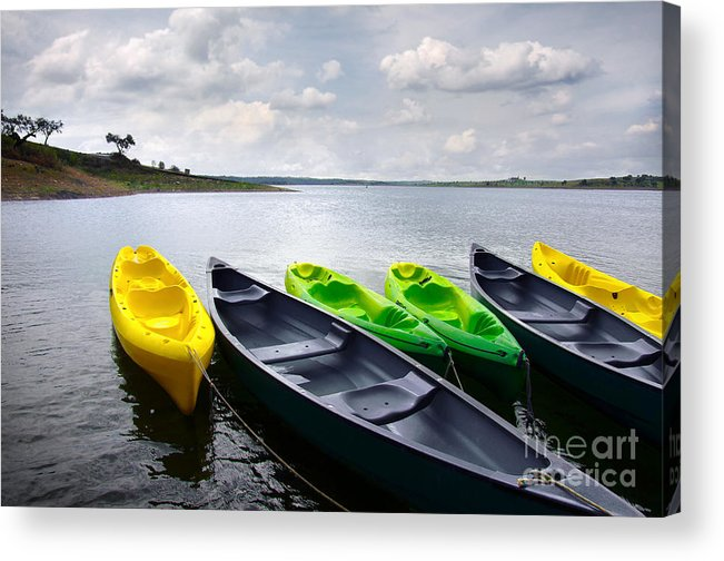 Activity Acrylic Print featuring the photograph Green And Yellow Kayaks by Carlos Caetano