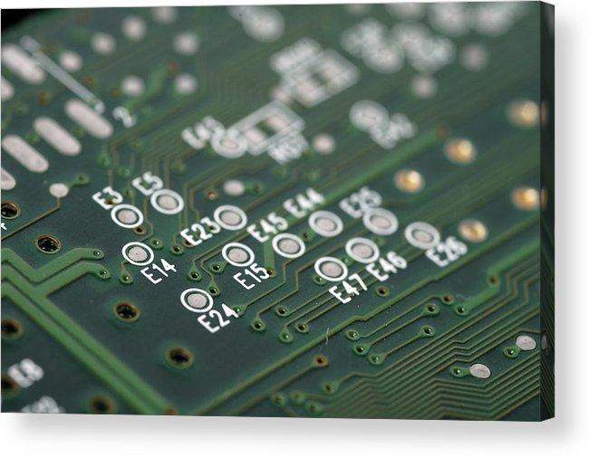 Board Acrylic Print featuring the photograph Green Printed Circuit Board Closeup by Matthias Hauser