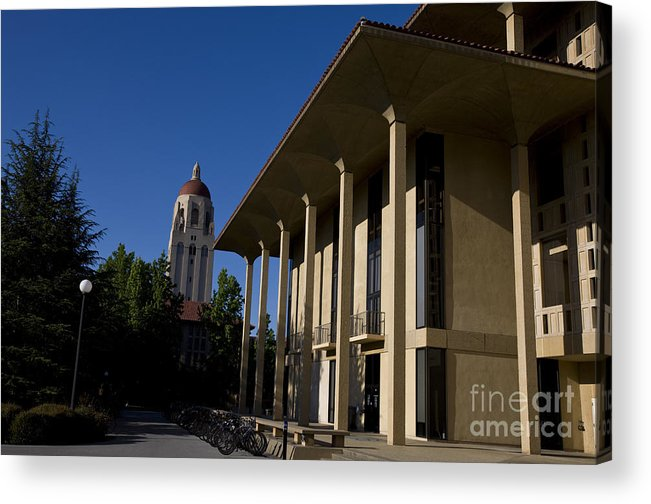 Acrylic Print featuring the photograph Greene Library And Hoover Tower Stanford University by Jason O Watson