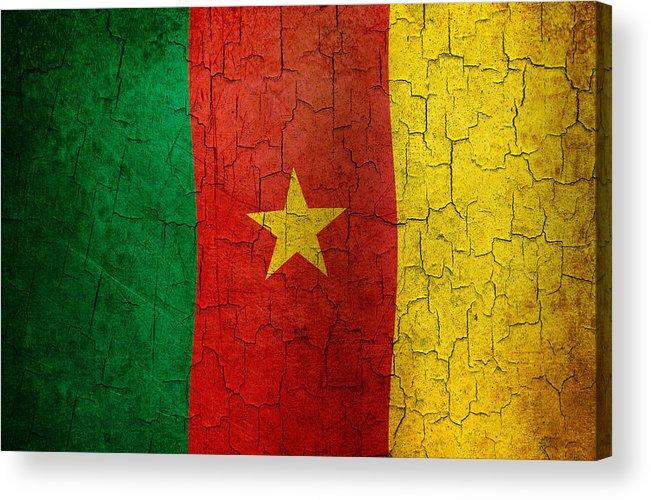 Aged Acrylic Print featuring the digital art Grunge Cameroon Flag by Steve Ball