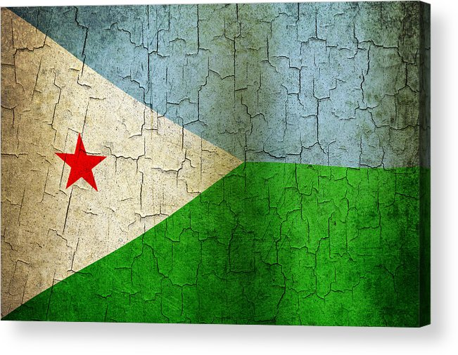 Aged Acrylic Print featuring the digital art Grunge Djibouti Flag by Steve Ball