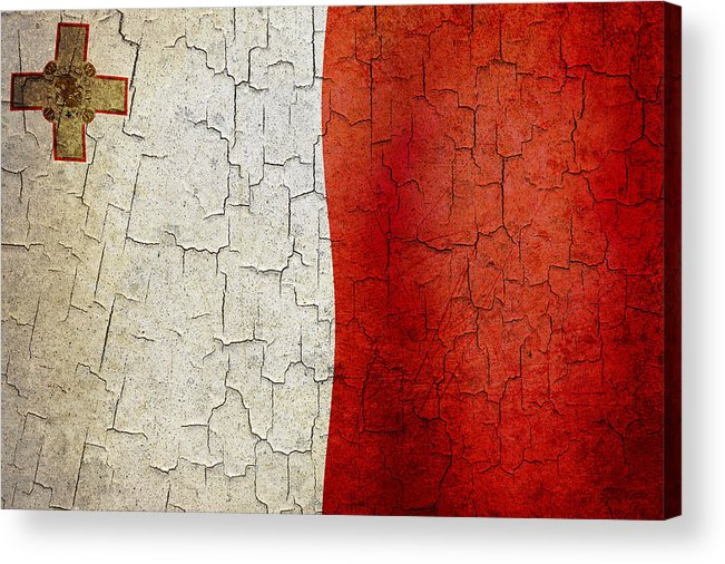 Aged Acrylic Print featuring the digital art Grunge Malta Flag by Steve Ball