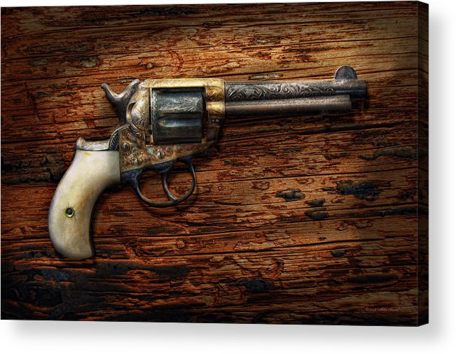 Police Acrylic Print featuring the photograph Gun - Police - True Grit by Mike Savad